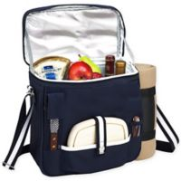 Picnic at Ascot Wine and Cheese Picnic Basket/Cooler with Blanket in Navy/White