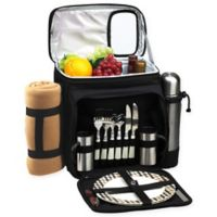 Picnic & Coffee Basket/Cooler for 2 in Black with Blanket