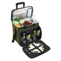 Picnic at Ascot Deluxe Picnic Cooler for 4 with Wheels in Tan/Green