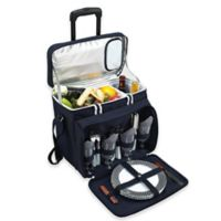 Picnic at Ascot Deluxe Picnic Cooler for 4 with Wheels in Navy/White