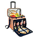 Picnic at Ascot Deluxe Picnic Cooler for 4 with Wheels in Orange Diamond /Navy