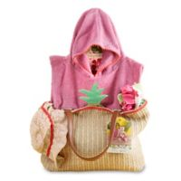 Baby Aspen Size 0-6M 4-Piece Tropical Gift Set with Raffia Tote in Pink/Green