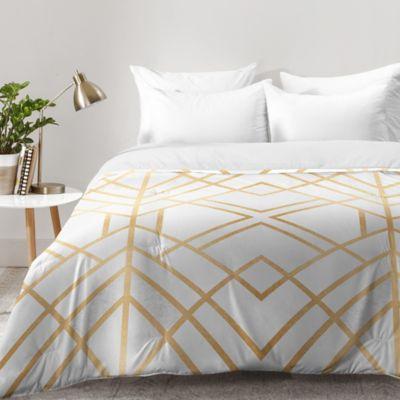 deny designs elisabeth fredriksson golden geo queen comforter in gold - Comforters Queen