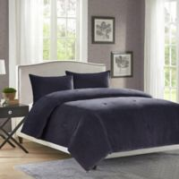 Velvet Full/Queen Comforter Set in Charcoal