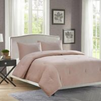 Velvet Full/Queen Comforter Set in Tan