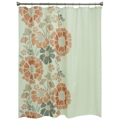 orange and teal shower curtain. Peyton Floral Shower Curtain Buy Vintage Curtains from Bed Bath  Beyond