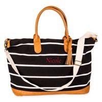 Cathy's Concepts Striped Canvas Weekender Tote in Black