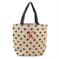 Cathy's Concepts Polka Dot 18-Inch Natural Jute Tote in Black