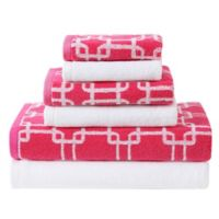 VCNY Clairebella Links/Solid 6-Piece Towel Set in Pink