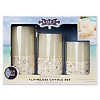 Loft Living™ 3-Piece Sand and Seashells Flameless LED Candle Set with Timer