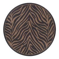 Courtisan Recife Zebra 7.5-Foot Round Rug in Black/Cocoa