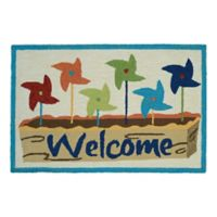 "Couristan® Covington Accents 24-Inch x 36-Inch Pinwheel ""Welcome"" Rug"