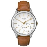 Timex® IQ+ Move Men's 41mm Activity Tracker Watch in Silvertone Brass with Brown Strap