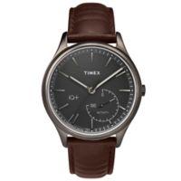 Timex® IQ+ Move Men's 41mm Activity Tracker Watch in Silvertone Brass with Dark Brown Strap
