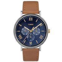 Timex® Southview Unisex Chronograph Watch in Silvertone Brass with Brown Leather Strap