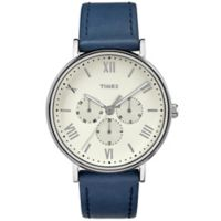 Timex® Southview Unisex Chronograph Watch in Silvertone Brass with Blue Leather Strap