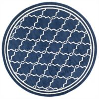 Safavieh Amherst Quake 7-Foot Round Indoor/Outdoor Area Rug in Navy/Beige