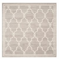 Safavieh Amherst Quake 9-Foot Square Indoor/Outdoor Area Rug in Light Grey/Ivory