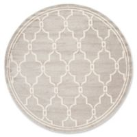 Safavieh Amherst Quake 9-Foot Round Indoor/Outdoor Area Rug in Light Grey/Ivory