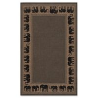 Couristan Recife Elephant 5-Foot 10-Inch x 9-Foot 2-Inch Indoor/Outdoor Area Rug in Cocoa/Black
