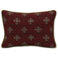 Bombay® Geo Floral Berry 15-Inch x 22-Inch Outdoor Ovrsz Lumbar Pillow with Welt