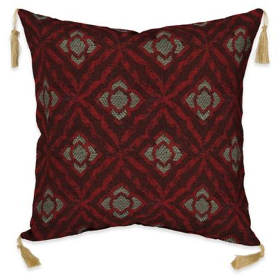 bombay geo floral berry 16inch square outdoor throw pillow with tassels
