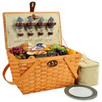 Picnic at Ascot Settler Picnic Basket for 4 in Black Gingham