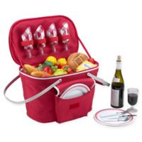 Picnic at Ascot Insulated 4-Serving Picnic Basket in Red