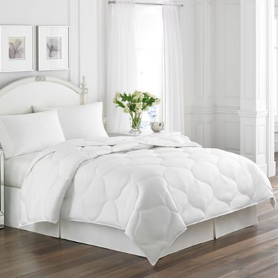 laura ashley trellis quilted down alternative queen comforter in white