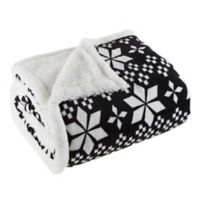 Plaid Fleece Sherpa Throw Blanket in Black/White