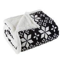 Plaid Fleece Sherpa Throw Blanket in Black/White