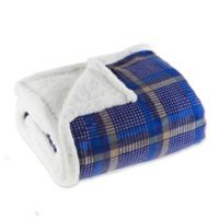 Plaid Fleece Sherpa Throw Blanket in Blue/Yellow