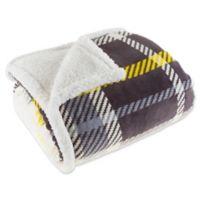 Plaid Fleece Sherpa Throw Blanket in Yellow/Grey