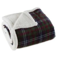 Plaid Fleece Sherpa Throw Blanket in Green/Red