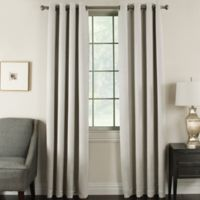 Brinkley 84-Inch Grommet Top Room Darkening Window Curtain Panel in Silver/White