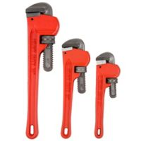 3-Piece Heavy Duty Pipe Wrench Set with Storage Pouch