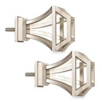 Cambria® Premier Complete Square Birdcage Finials in Polished Nickel (Set of 2)