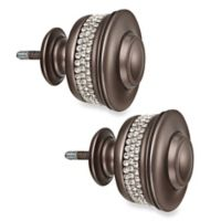 Cambria® Premier Complete Banded Finials in Graphite (Set of 2)