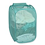Smart Design Pop-Up Flip Hamper and Basket in Pool Blue