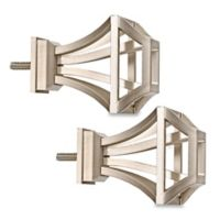 Cambria® Premier Complete Square Birdcage Finials in Brushed Nickel (Set of 2)