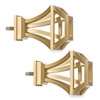 Cambria® Premier Complete Square Birdcage Finials in Warm Gold (Set of 2)