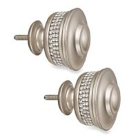 Cambria® Premier Complete Banded Finials in Brushed Nickel (Set of 2)