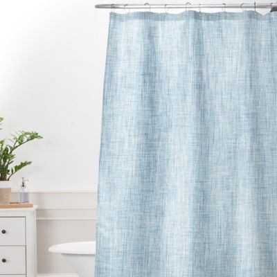 DENY Designs Holli Zollinger Linen Acid Wash Extra Long Shower Curtain In  Blue