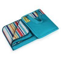 Picnic Time® Vista Blanket Tote in Aqua Blue with Fun Stripes