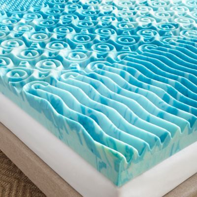 lane 4inch twin gellux gel memory foam mattress topper in blue