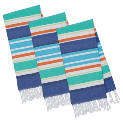 Beachy Cotton Stripes Fouta Towels In Blue (Set Of 3)