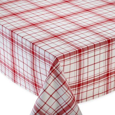 Down Home 70 Inch Round Plaid Tablecloth In Red/White