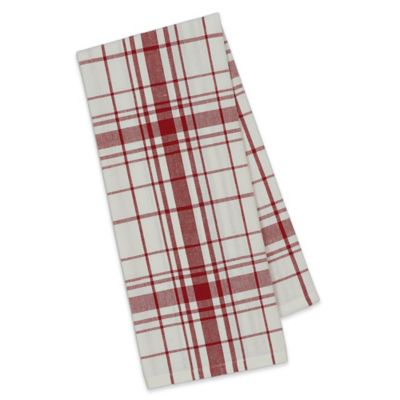 Down Home Plaid Kitchen Towels In Red/White (Set Of 4)