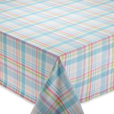 Easter Basket 60 Inch X 84 Inch Oblong Plaid Tablecloth