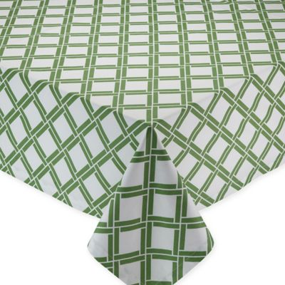 Bamboo Lattice Print 52 Inch X 52 Inch Square Tablecloth In Green